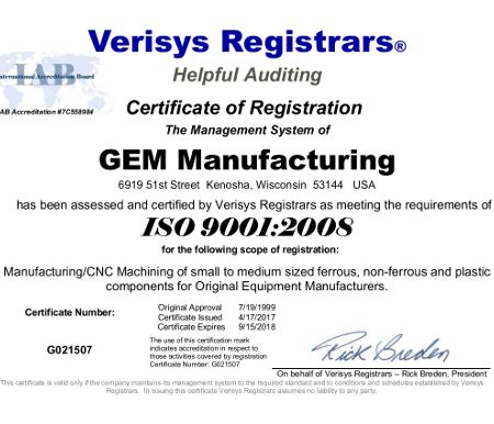 GEM Manufacturing ISO 9001 2008 Certificate 4-17-2017